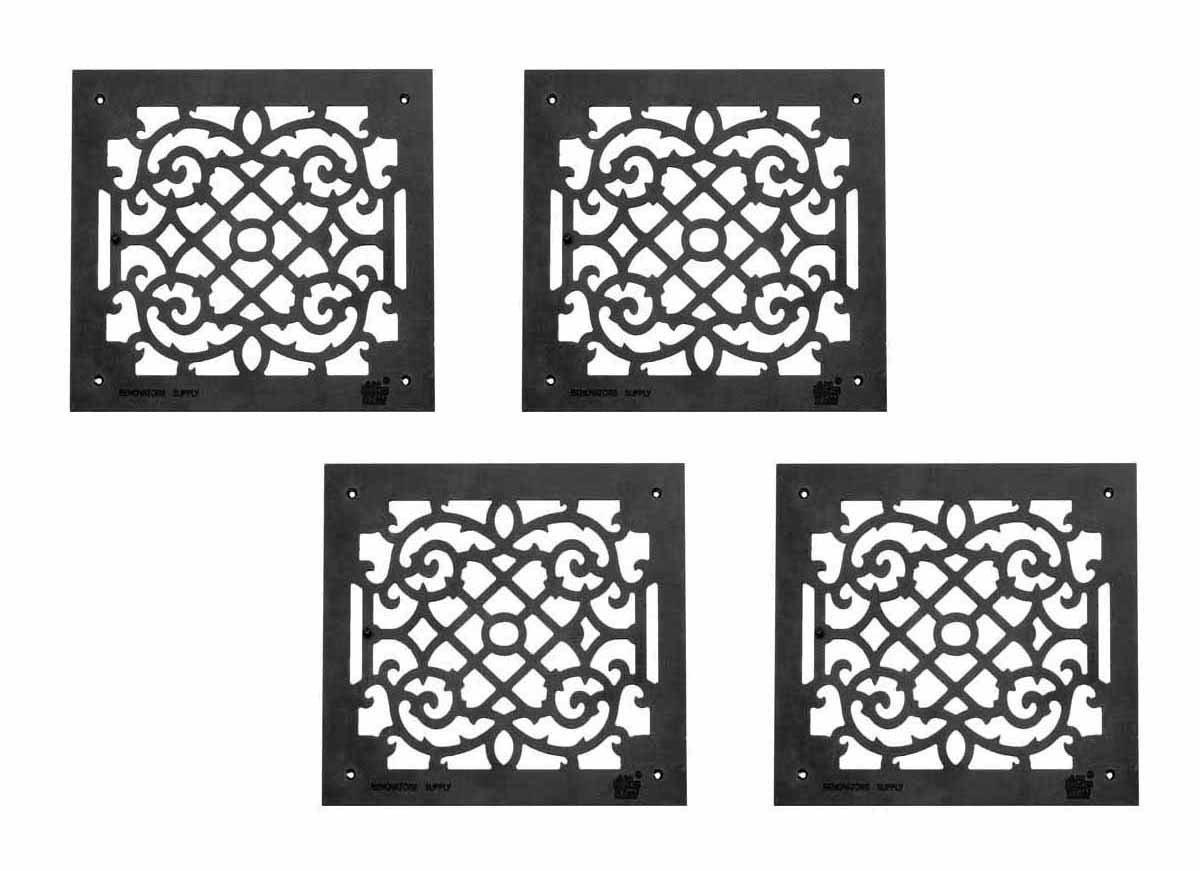4 Air Grilles Black Cast Aluminum Rustproof Set Of 4 14 X 16
