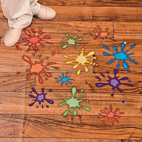 Paint Splatter Floor Clings for Birthday and Art Party (set of 14) ()