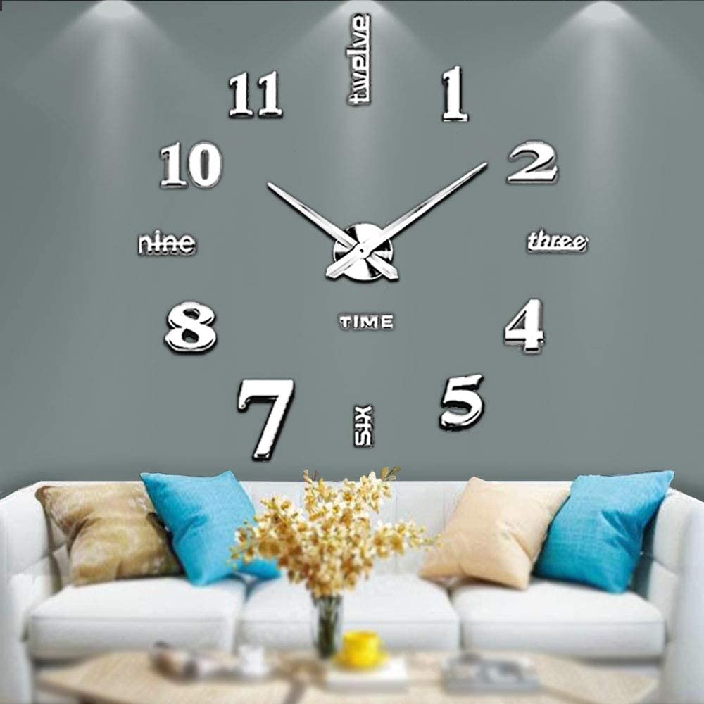 Mintime Modern Frameless DIY Wall Clock Large 3D Wall Watch Mirror Numbers for Home Office Decorations