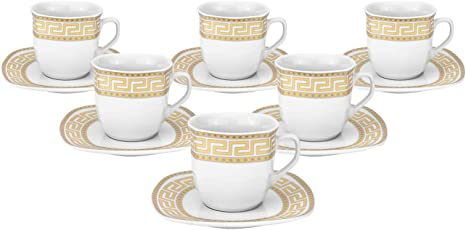 Bone China Mosaic Royalty Porcelain 12-pc Tea or Coffee Cup Set for 6