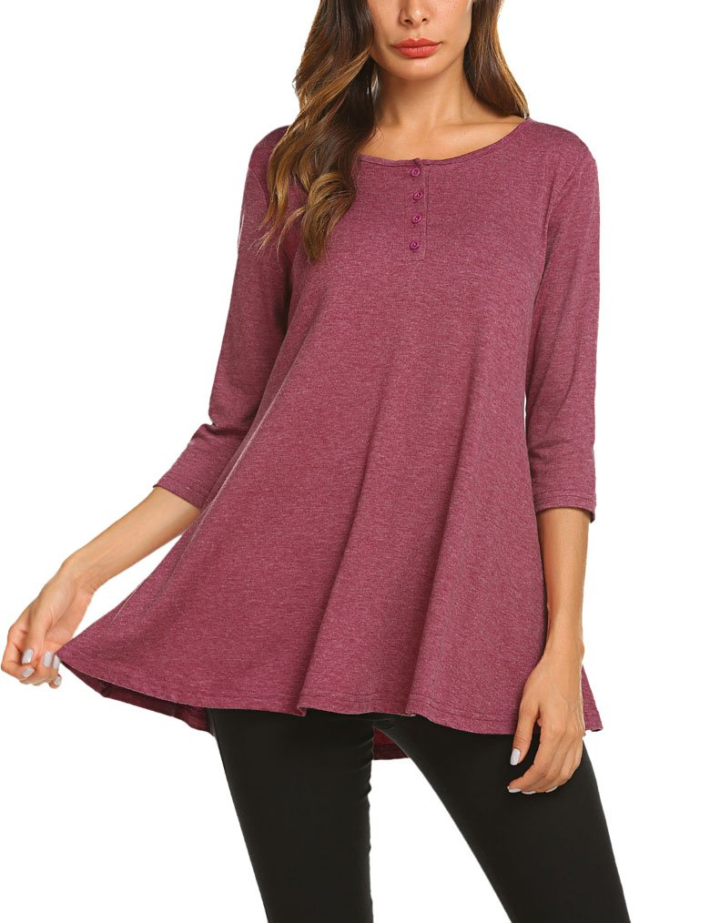 Women Long Sleeve Tunic Top Blouse With Pockets XXL Wine Red by Qearal (Image #1)