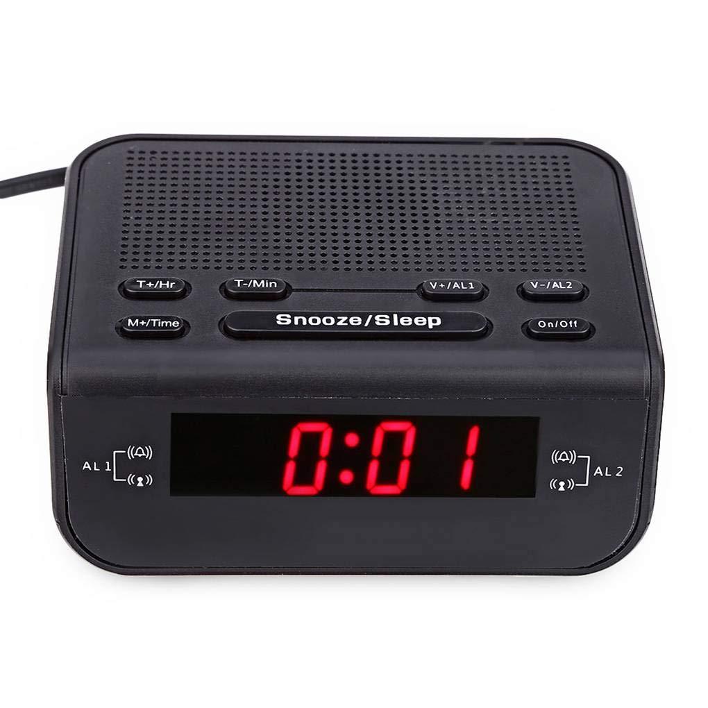 Moderne numé rique LED rouge Affichage de l'heure Horloge Radio AM/FM double alarme Buzzer Snooze veille radio Branchez l'UE Lorjoy