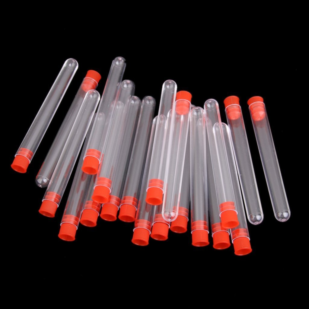 winomo 20pcs 100/* 12/mm Plastique /éprouvettes pas graduierte Rouge