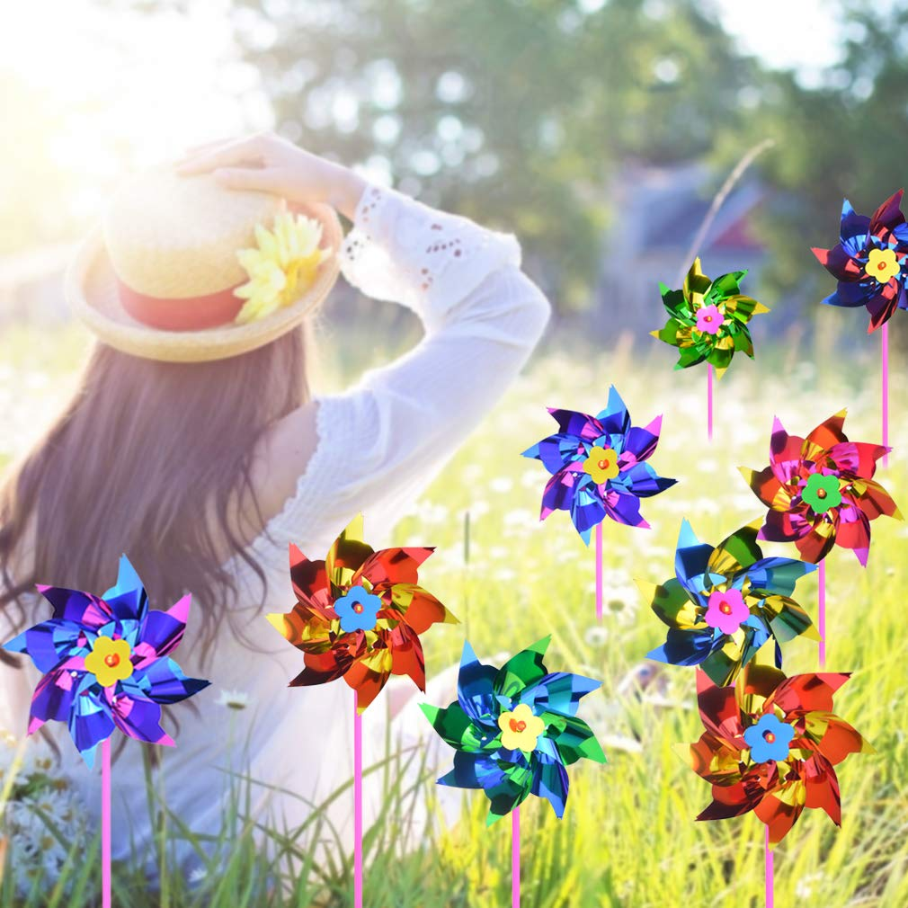Yolyoo 100 Pcs Plastic Rainbow Pinwheel,Windmill Party Pinwheels DIY Pinwheels Set for Kids Toy Garden Lawn Party Decor