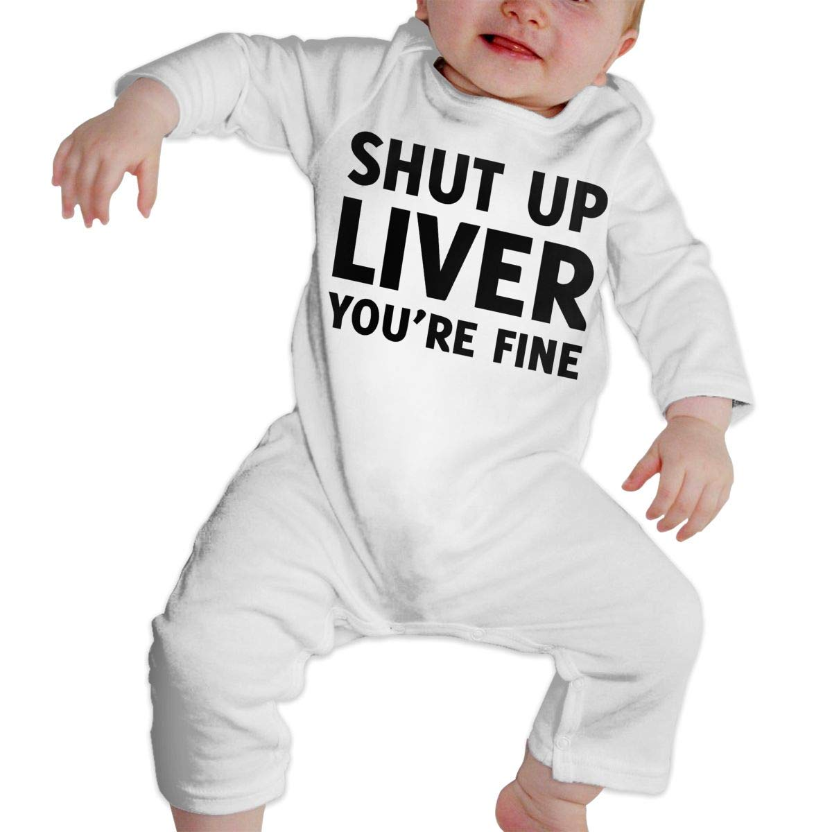 Soft Shut Up Liver Youre Fine Sleepwear U99oi-9 Long Sleeve Cotton Bodysuit for Baby Boys and Girls