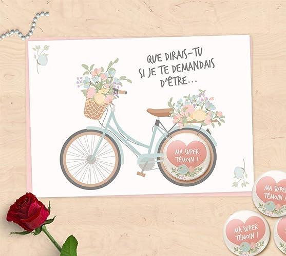 Carte Badge Cadeaux Demande Témoin De Mariage Super Témoin Demoiselle Dhonneur Collection Vélo Fleuri