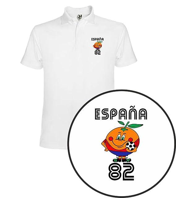 The Fan Tee Polo de Hombre Divertidas Naranjito 82 Mundial España Futbol Deporte Retro sCSZcvKc