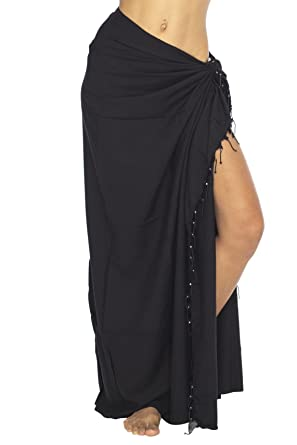 669e721778 Back From Bali Womens Sarong Swimsuit Cover Up Beaded Beach Wear Bikini  Wrap Skirt with Coconut