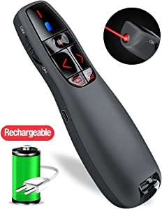 Wireless Presentation Remote, RF 2.4Ghz USB Rechargeable Powerpoint Presenter Clicker Remote Control Pointer for Mac/PC (Red)