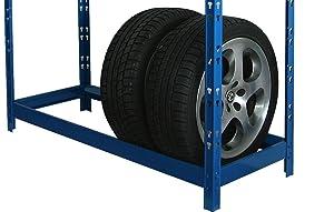 Blaues Reifenregal für 8 Reifen