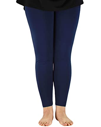 cdccdebae57 Plus Size Womens Ultra Stretchy Ankle Length Leggings Light Bamboo Elastic  Waistband Tights Pants Navy 2XL
