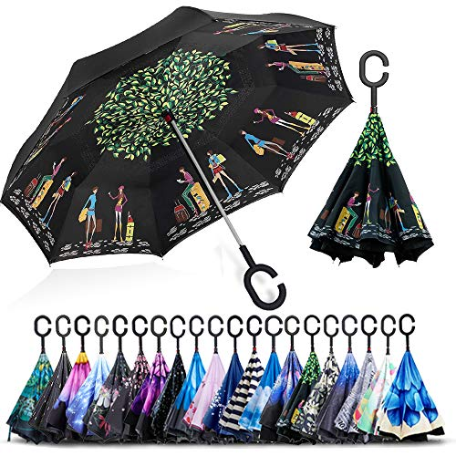(ZOMAKE Double Layer Inverted Umbrella Cars Reverse Umbrella, UV Protection Windproof Large Straight Umbrella for Car Rain Outdoor With C-Shaped Handle(Traveler))