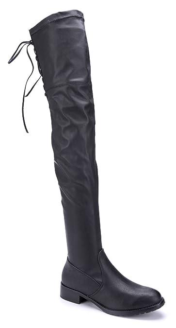 22a33b7b64ce74 Schuhtempel24 Damen Schuhe Overknee Stiefel Stiefeletten Boots schwarz  Blockabsatz Zierschleife 3 cm