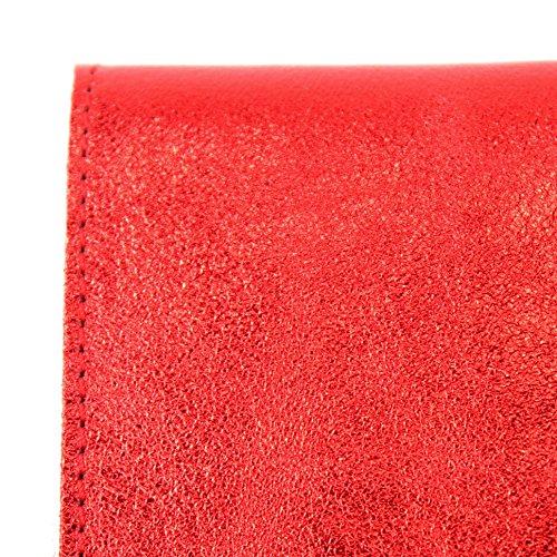 modamoda de - ital. Ledertasche Clutch Unterarmtasche Abendtasche Leder Metallic M106-151 M151 Rot Metallic xpPLHlxk
