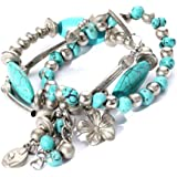Yazilind Jewelry Turquoise Tibetan Sliver Stretch Overlap Bracelet Bangle for Women