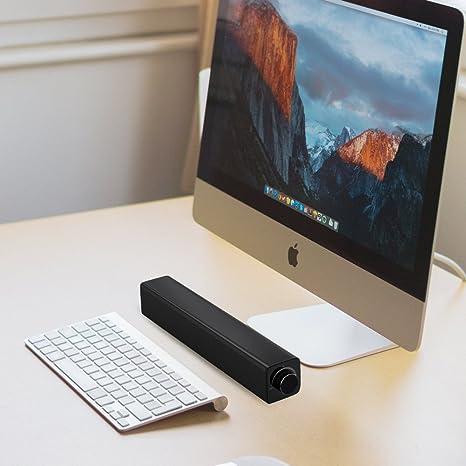 Barra Sonido, 20W Altavoz Barra de Sonido Portátil Cable/Inalámbrico con 3,5 mm Conector de Audio Altavoz Bluetooth Sistema de Audio Estéreo Envolvente para TV, PC, Smartphone, etc.: Amazon.es: Electrónica
