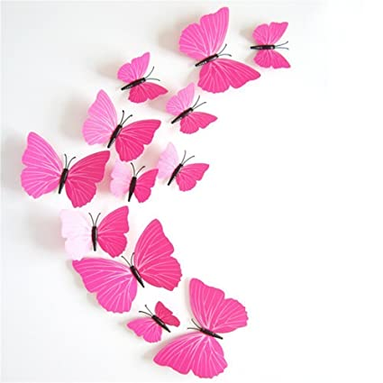 Wall stickers 12 pcs 3d pvc magnet butterfly sticker art design decorative removable wall sticker