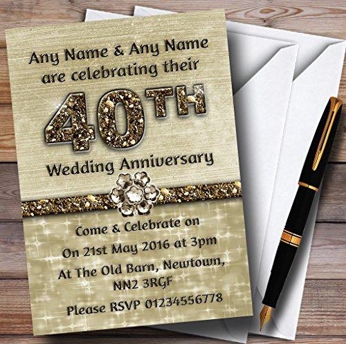 40th Anniversary Party Invitations (Titanium Gold Sparkly 40Th Personalized Anniversary Party Invitations)