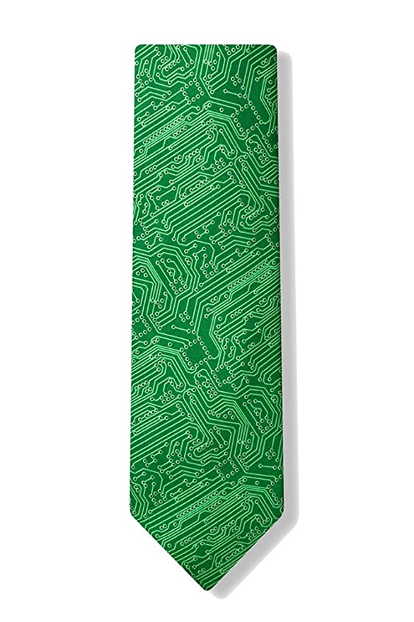 Men\'s Microfiber Green Computer Science Circuit Board Geek Necktie ...