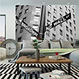 NYC Decor Wall Mural,Street Signs of Intersection of Wall Street and Broadway Finance Art Destinations Photo,Self-Adhesive Large Wallpaper for Home Decor 55x78 inches,Black and White