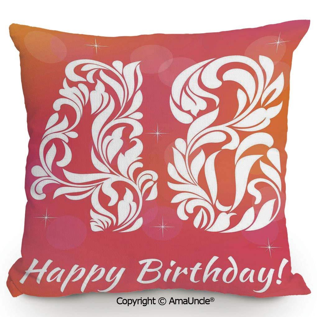 AmaUncle 装飾正方形クッションカバー コットンとリネン 世界中の誕生日おめでとう 様々な言語レトロ 幅16times;長さ16インチ 3Dプリント W18