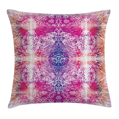Ambesonne Mandala Throw Pillow Cushion Cover, Far Eastern Style Traditional Mandala Tie Dye Effect Ombre Print Harmony Meditation Theme, Decorative Square Accent Pillow Case, 20 X 20 Inches, Pink (Harmony Meditation Chair)