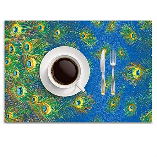 Pad Peacock Feather Gold - Gold Peacock Feather Teal Cotton Linen Placemats Bowl Plate Pad Dining Table Mat Heat Insulation Pads Mat Set of 4