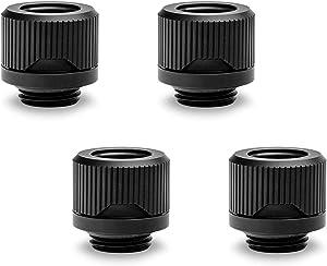 EKWB EK-Quantum Torque HTC-12 Compression Fitting for EKWB Rigid Tubing, 12mm OD, Black, 4-Pack