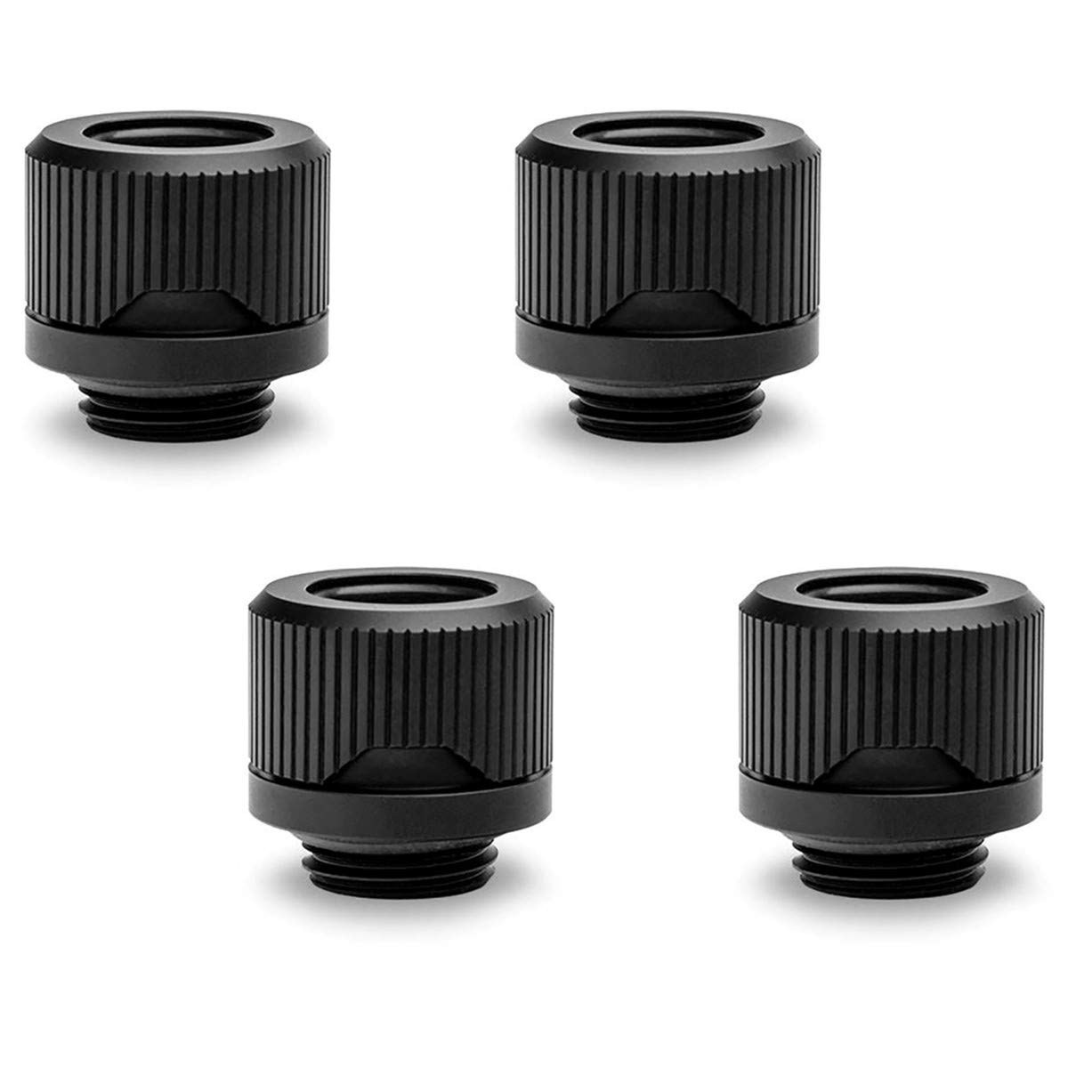 EKWB EK-Quantum Torque HDC-12 Compression Fitting for EKWB Rigid Tubing, 12mm OD, Black, 4-Pack