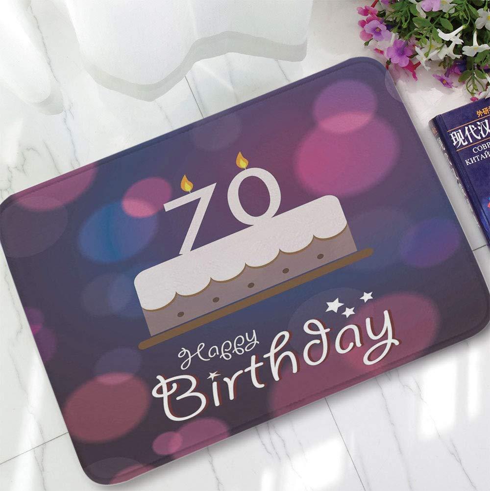 YOLIYANA Custom Carpet,70th Birthday Decorations,for Children Bedroom Corridor,15.75''x23.62'',Cartoon Style Birthday Party Cake Abstract