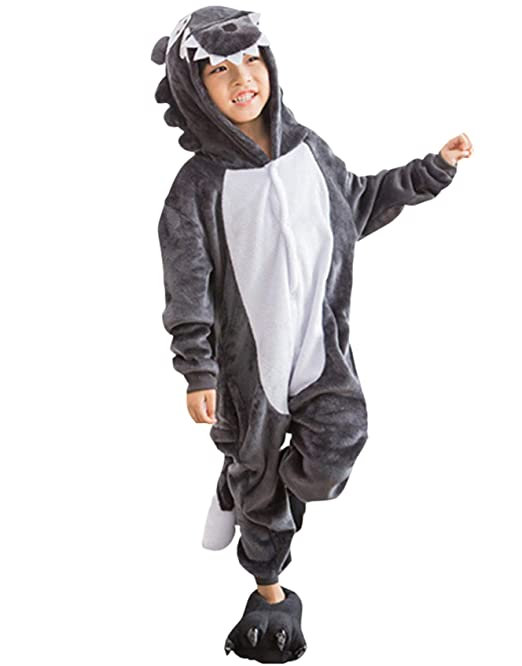 Kigurumi Pijama Animal Entero Unisex para Niños con Capucha Cosplay Pyjamas Lobo Gris Ropa de Dormir Traje de Disfraz para Festival de Carnaval Halloween ...