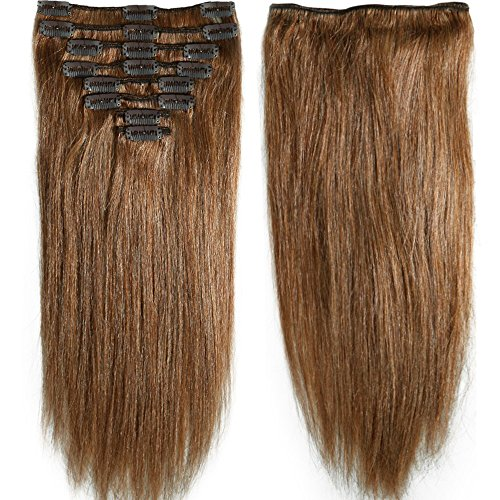 snoilite 70g120g 10quot 13quot 16quot 18quot 20quot 22quot 24quot Standard Weft Full Head Set Clip on 100% Remy Human Hair Extensions Grade 5A For Beauty 8 Pieces 18 Clips#6 Light Brown 16 Inch 90g