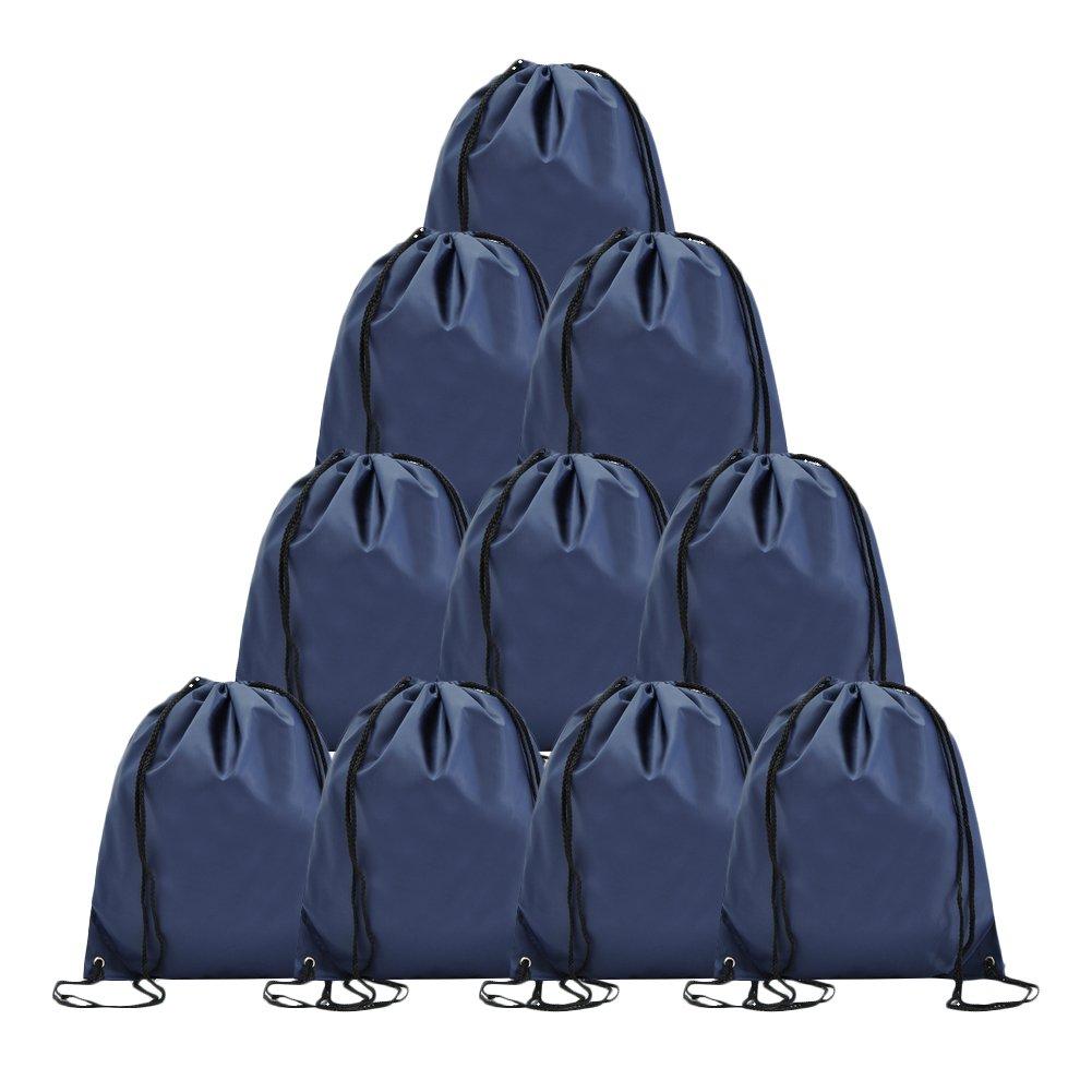 BINGONE Folding Sport Backpack Drawstring Bag Home Travel Storage Use 10 PCS Dark Blue