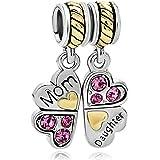CharmSStory Mom Daughter Heart Love Dangle Charm Beads For Snake Chain Bracelet