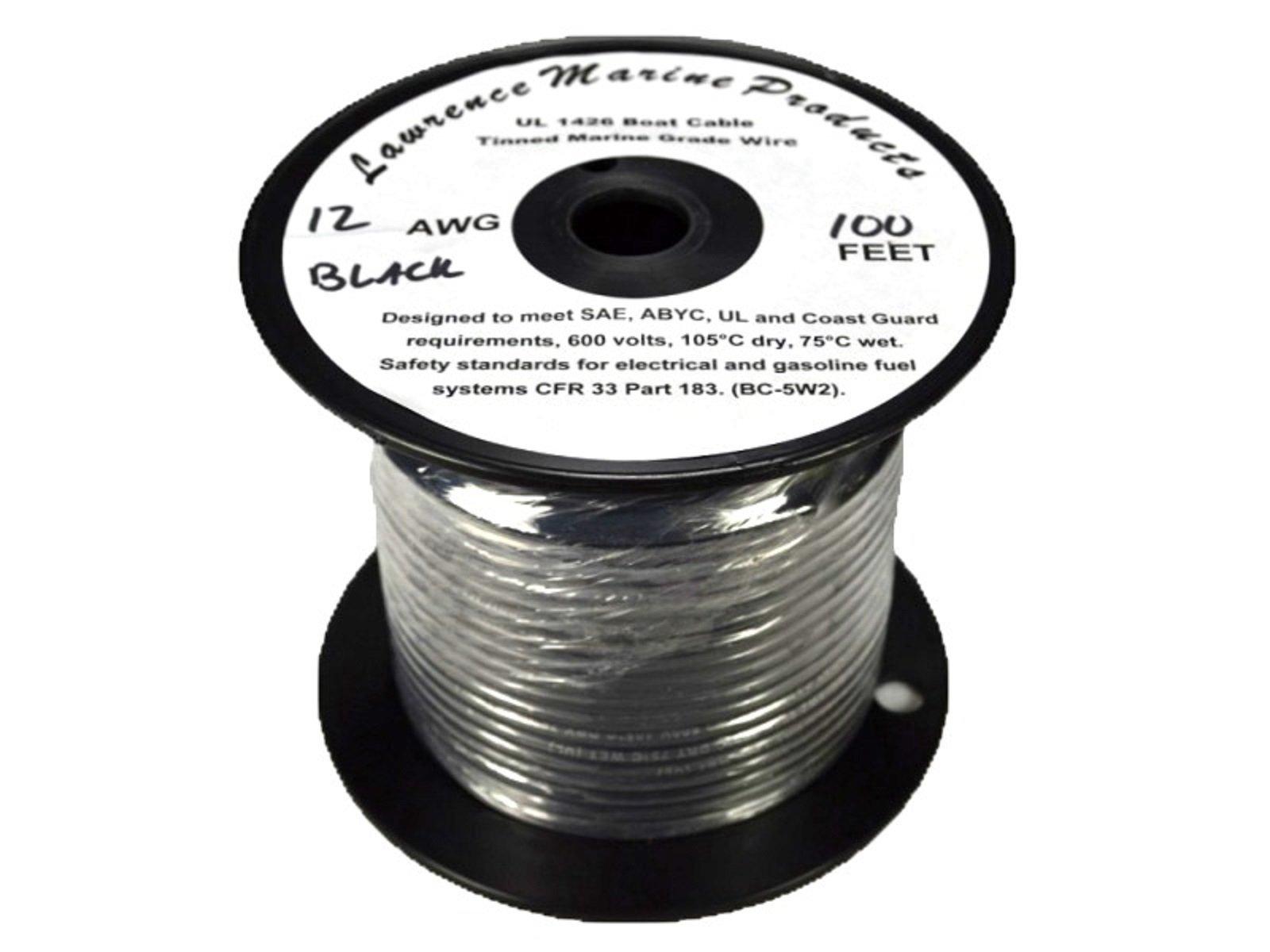 12 AWG Tinned Marine Primary Wire, Black, 100 Feet