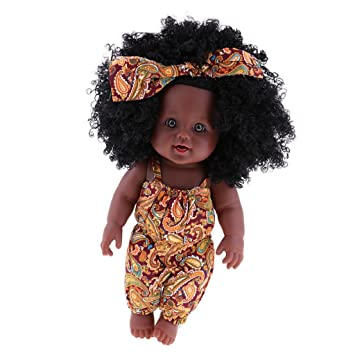Homyl 30cm Muñecas Niñas de Bebé Recién Nacido Africana de Vinilo con Ropa y Pelo - B