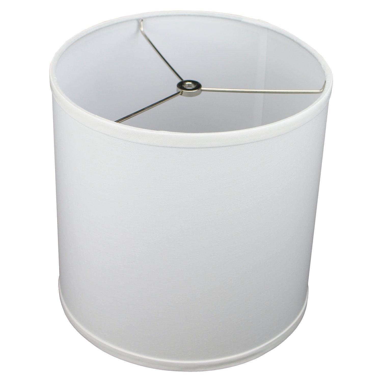 FenchelShades.com 10.5'' Top Diameter x 10.5'' Bottom Diameter 10.5'' Height Cylinder Drum Lampshade USA Made (White)