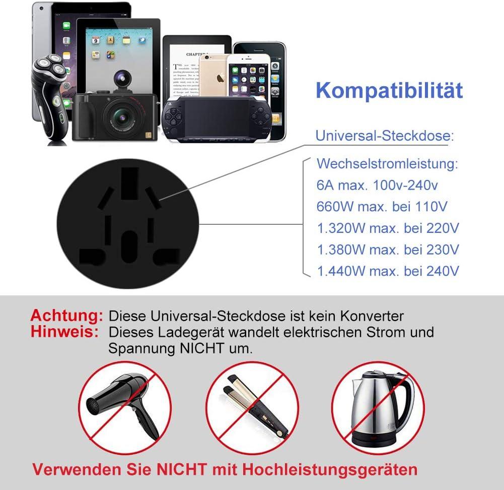 Goldfox Adaptateur de Voyage Universel Internationale avec 2 Ports USB et 2 fusibles pour leurope 150 Pays comme UK//US//AU Noir