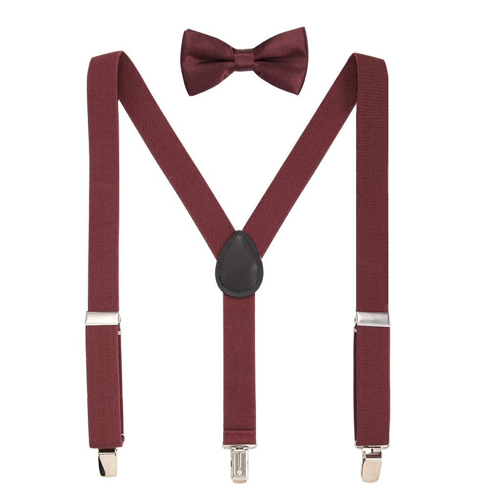 Kids Suspenders Adjustable Suspenders Set With Bow Ties for Boys and Girls