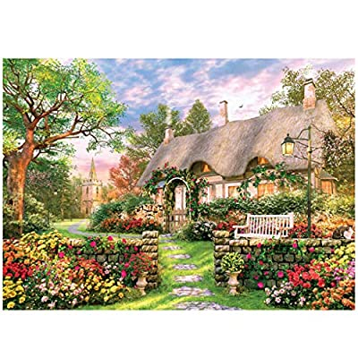 EDTO 300 Piece Jigsaw Puzzle for Adults-Flower House,300 pc Flower House Jigsaw Puzzle Game Interesting Toys -Hand Made Parent-Child Personalized Gift,Perfect for Group or Family Activity: Garden & Outdoor