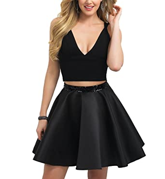 Fishlove Short Black Two Pieces Homecoming Prom Dresses For Juniors H4