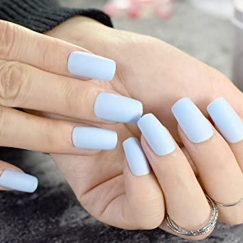 Amazon.com : CoolNail Matte Light Blue Square Head False Nails Middle-long Frosted Fake Nail Full Cover Nail Tips Fuax Ongles Finger Art : Beauty