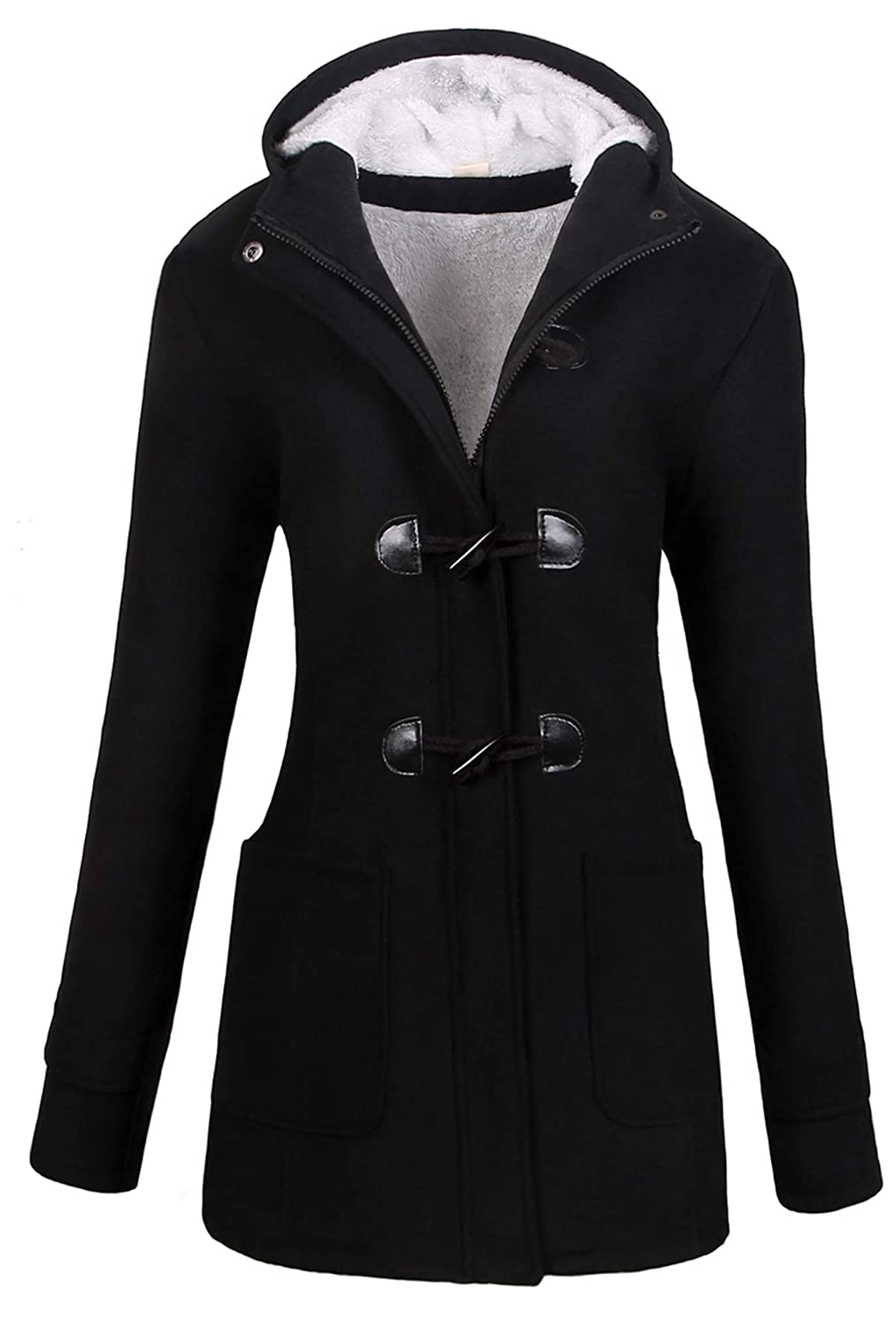 f5cb98cc8d7 Amazon.com  VOGRYE Womens Winter Fashion Outdoor Warm Wool Blended Classic Pea  Coat Jacket (FBA)  Clothing