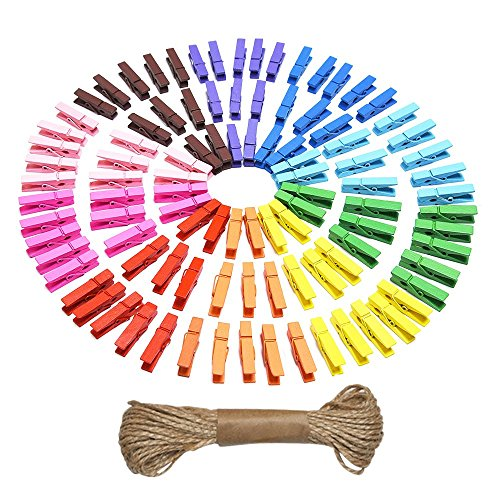eBoot Mini Natural Wooden Clothespins Photo Paper Peg Pin Craft Clips with Natural Twine, 100 Pieces (10 ()