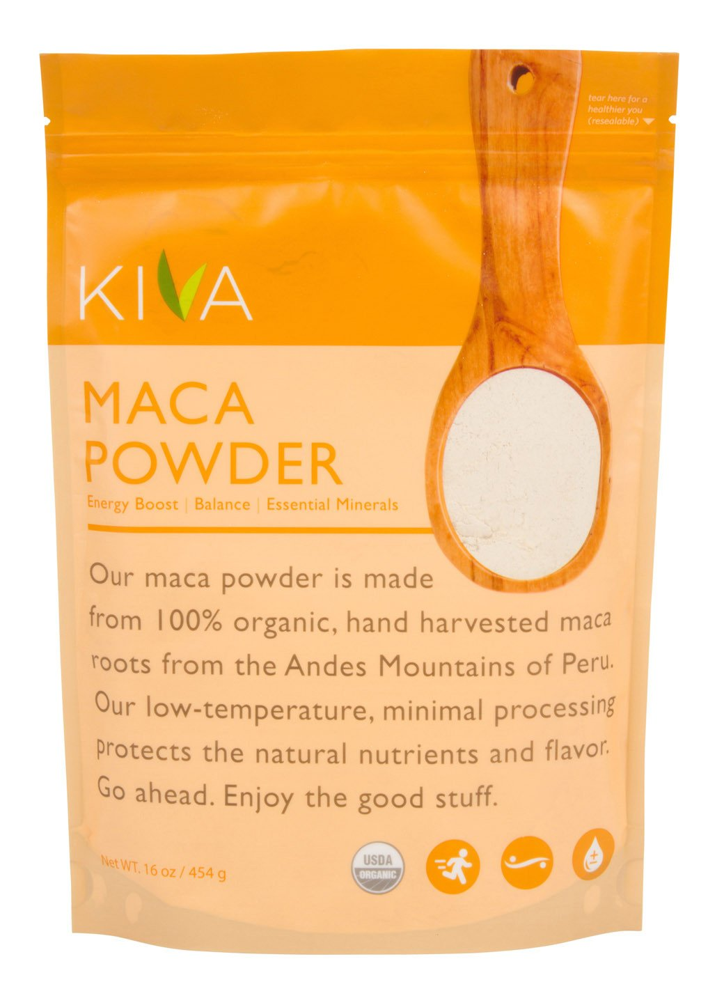 Kiva Organic Maca Powder- RAW and Non-GMO - LARGE 1 POUND BAG