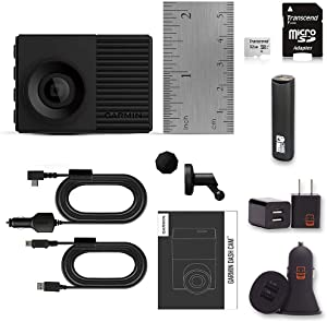 Garmin Dash Cam 56 Bundle with 140-Degree Lens, 1080P, Auto Incident Detection and Recording, Transcend 32gb Micro SD Card + PowerBank + USB Car Charger + USB Wall Charger (10 Items)