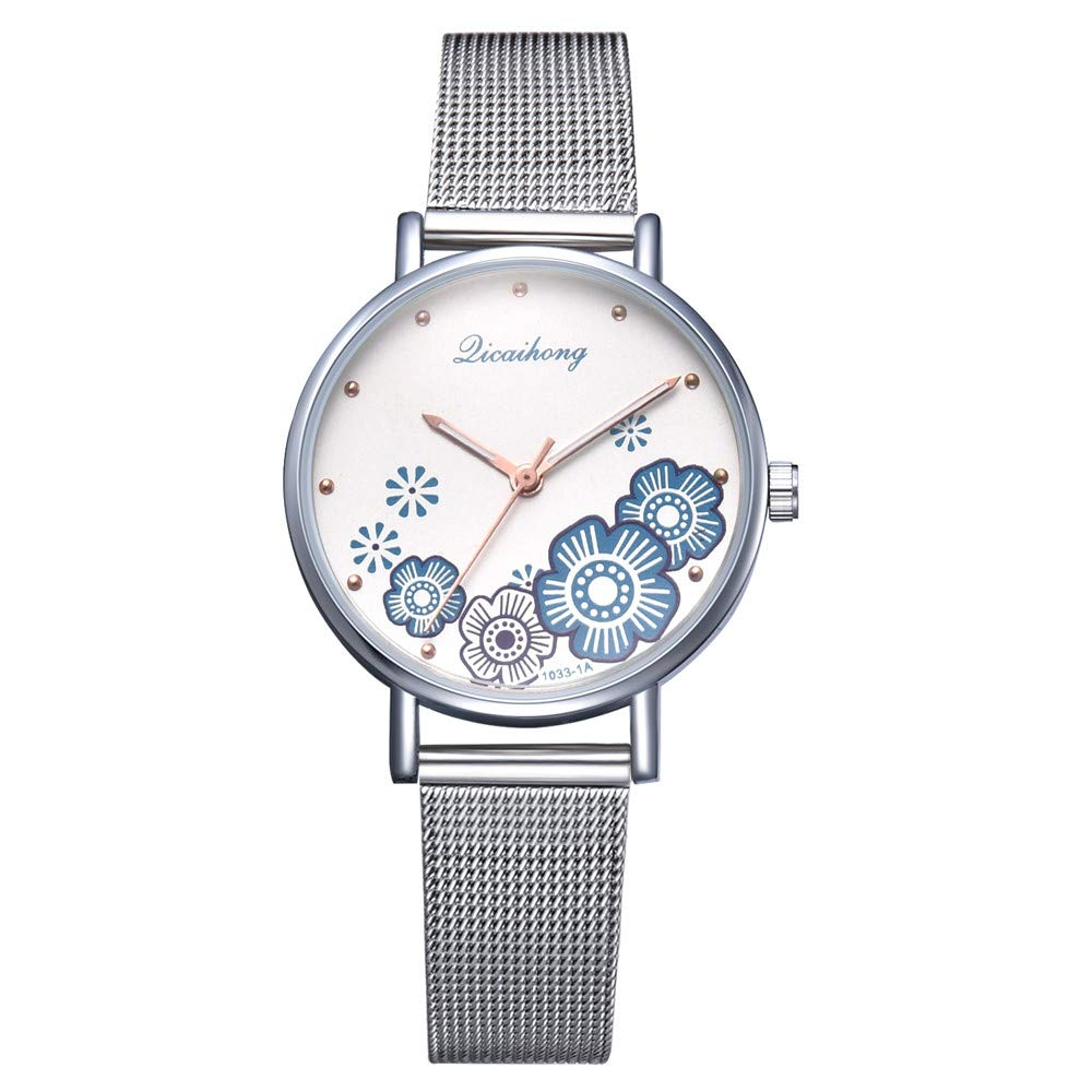 Iuhan Wrist Watch for Women Girls Holiday Deals, Women's Luxury Fashion Watch Stainless Steel Band Analog Quartz Flower Shape Wristwatch Great Gift for Christmas (Blue)