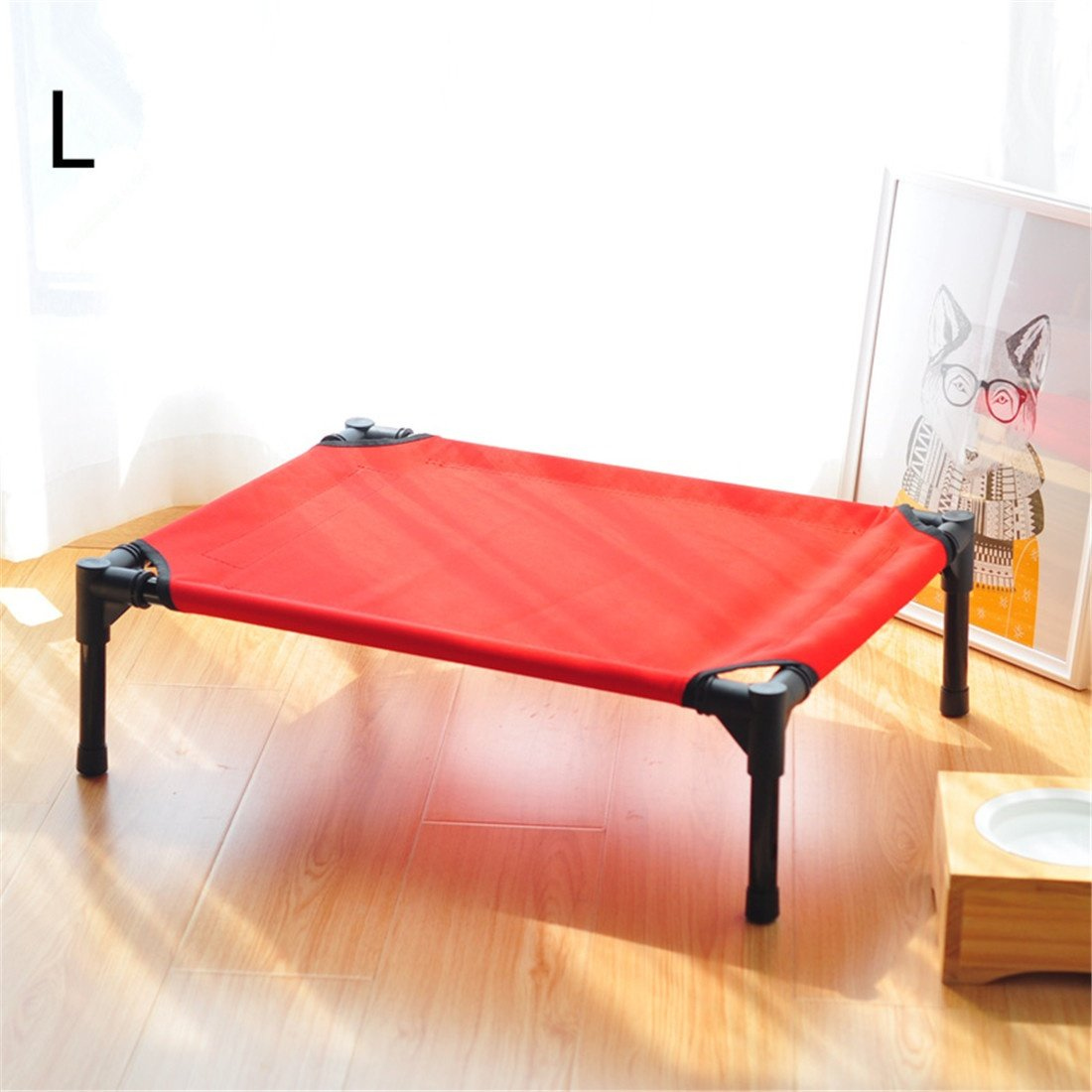 L CHWWO Elevated pet Bed Assembly Portable Outdoor Camping Raise The Dog Bed Anti-Rust Steel Pipe Durable Oxford Cloth Removable and Washable, L