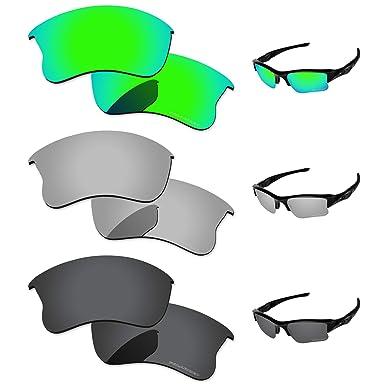 1dfaf46deec PapaViva Lenses Replacement for Oakley Flak Jacket XLJ Black Grey   Chrome  Silver   Bluish Green