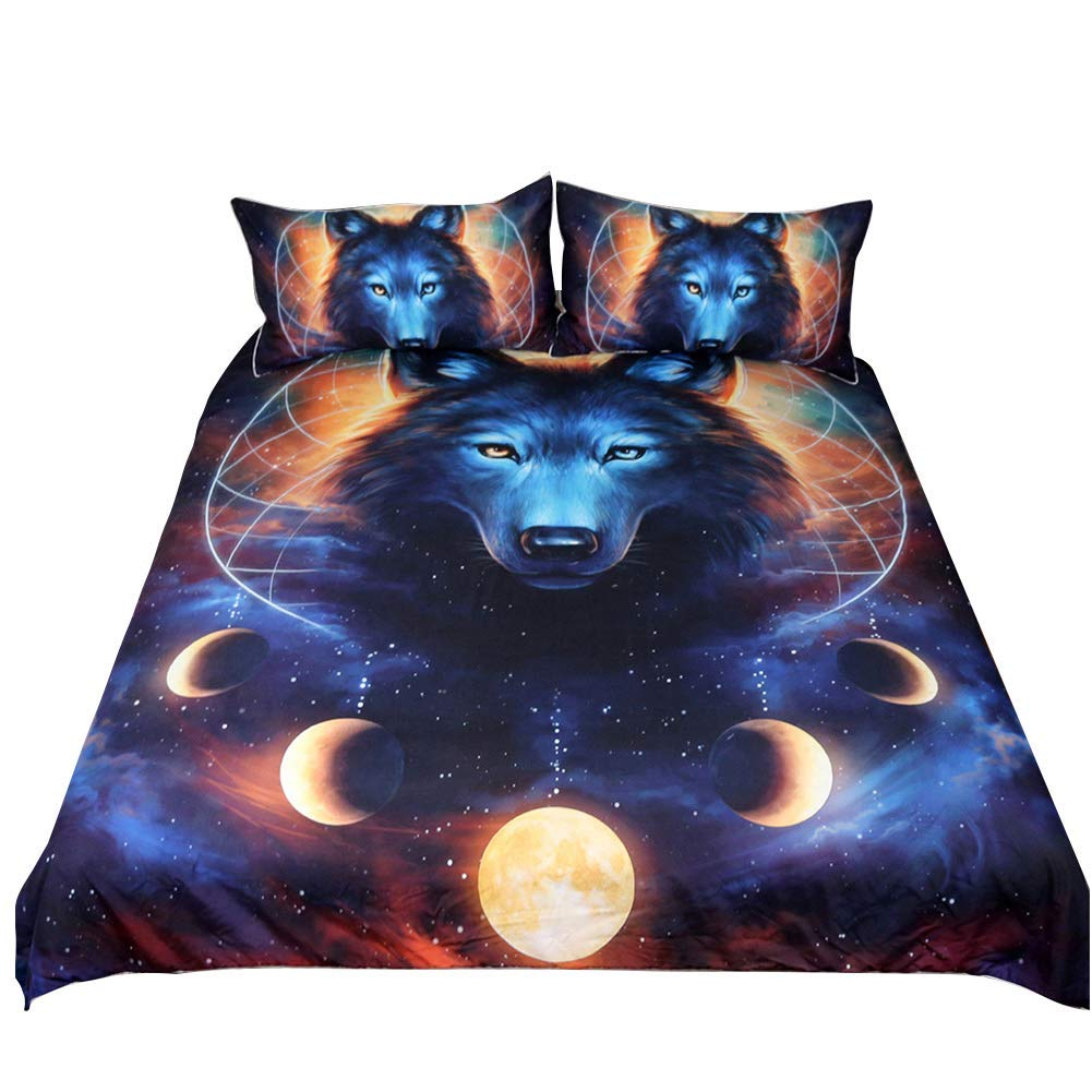 Feelyou 3D Animal Print Duvet Cover Set King Size Wolf Bedding Set Decorative Luxury Microfiber Polyester Comforter Cover Galaxy Dream Catcher Print Quilt Cover with 2 Pillow Shams, 3 Pcs, Blue